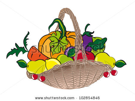 Basket Fruits Vegetables Stock Illustration 102854846.