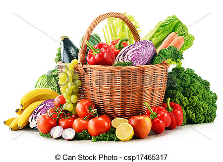 Stock Photography of Wicker basket with assorted organic.