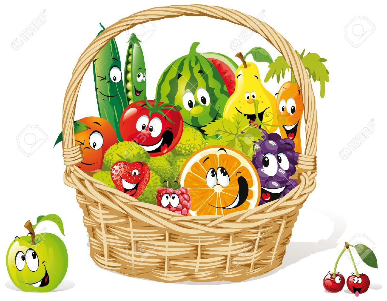 Basket Of Happy Fruit And Royalty Free Cliparts, Vectors, And.