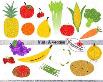 Fruits & Veggies Clipart by Poppydreamz.