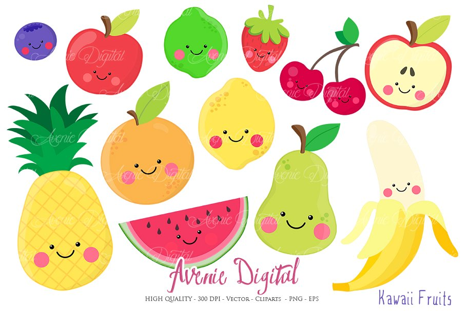 Kawaii Fruits Clipart + Vectors.