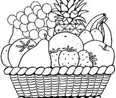 Basket of fruits clipart black and white 1 » Clipart Portal.