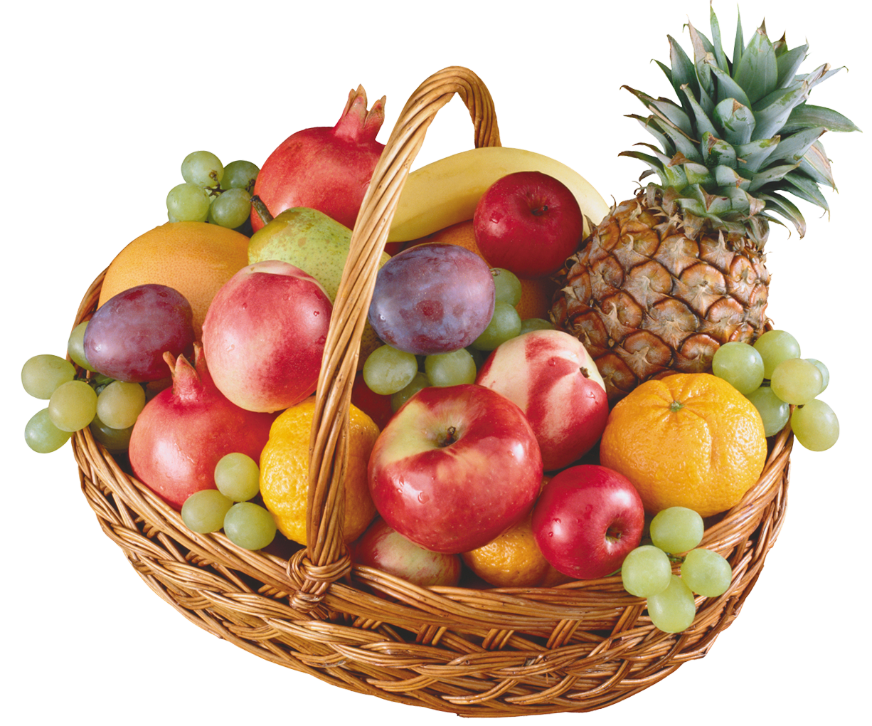 Basket with Fruits PNG Clipart.