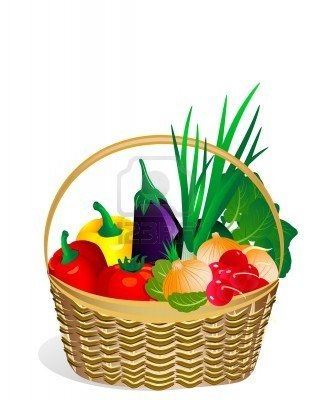 Vegetables In The Basket Clipart.