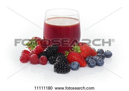 Stock Photography of A glass of fruits of the forest juice.