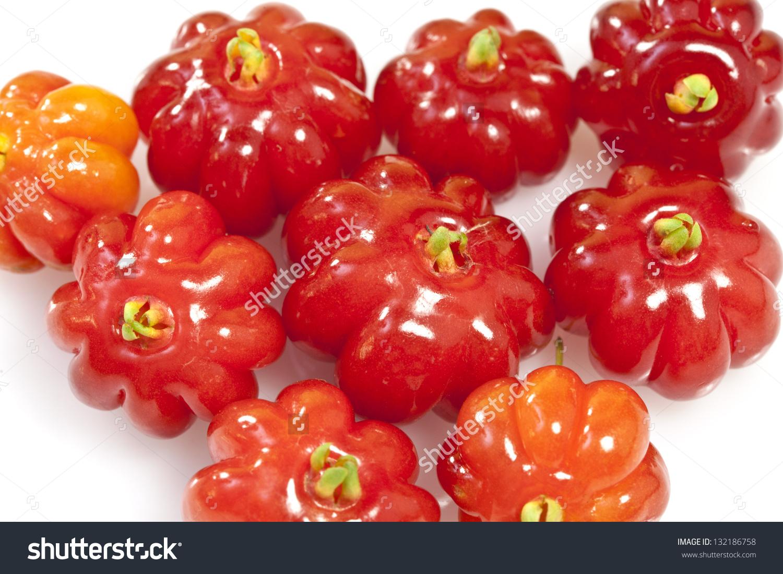 Tropical Fruit Called Pitanga Brazilian Cherry Stock Photo.