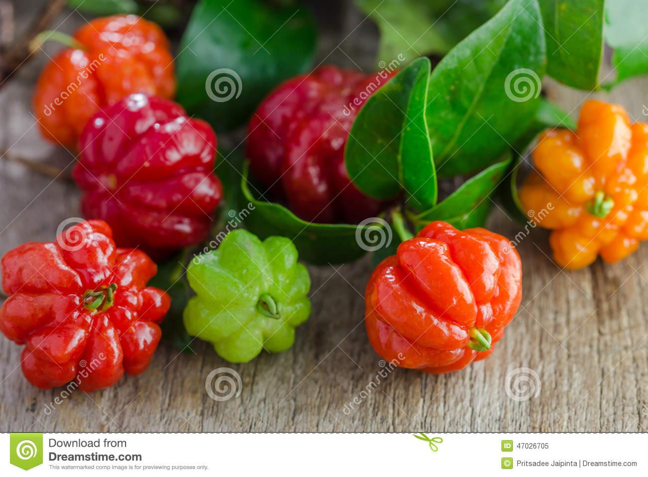Tropical Fruit Also Called Pitanga, Brazilian Cherry Stock Photo.