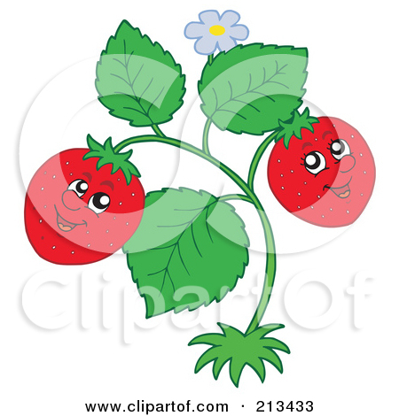 Cartoon of a Happy Strawberries on a Plant.