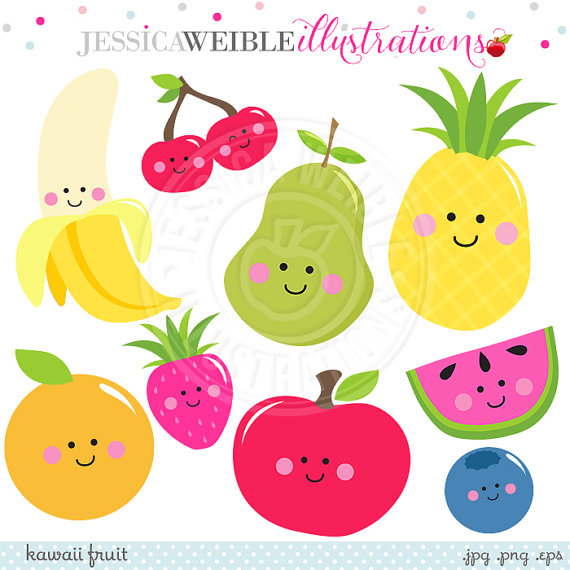 Kawaii Fruit Cute Digital Clipart, Cute Fruit Clip Art, Smiling.