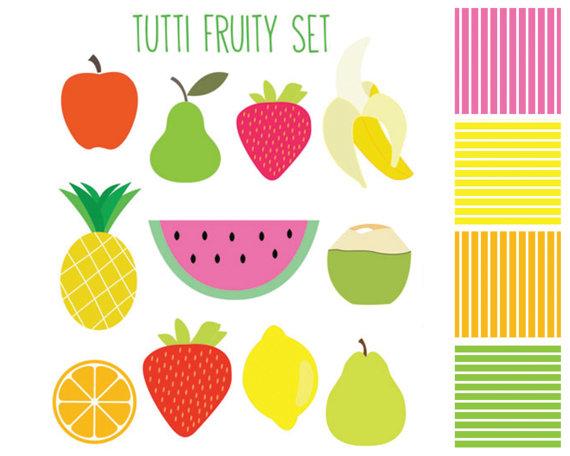 Clipart Sale 60% off, Tutti Fruity Clipart, Digital Design, Fruit.