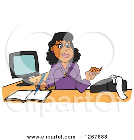 Clipart of a Frustrated White Male Bookkeeper Pulling His Hair and.