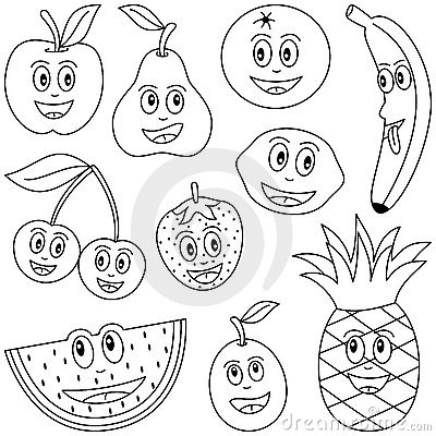 Coloring Fruit For Kids Royalty Free Stock Photo.
