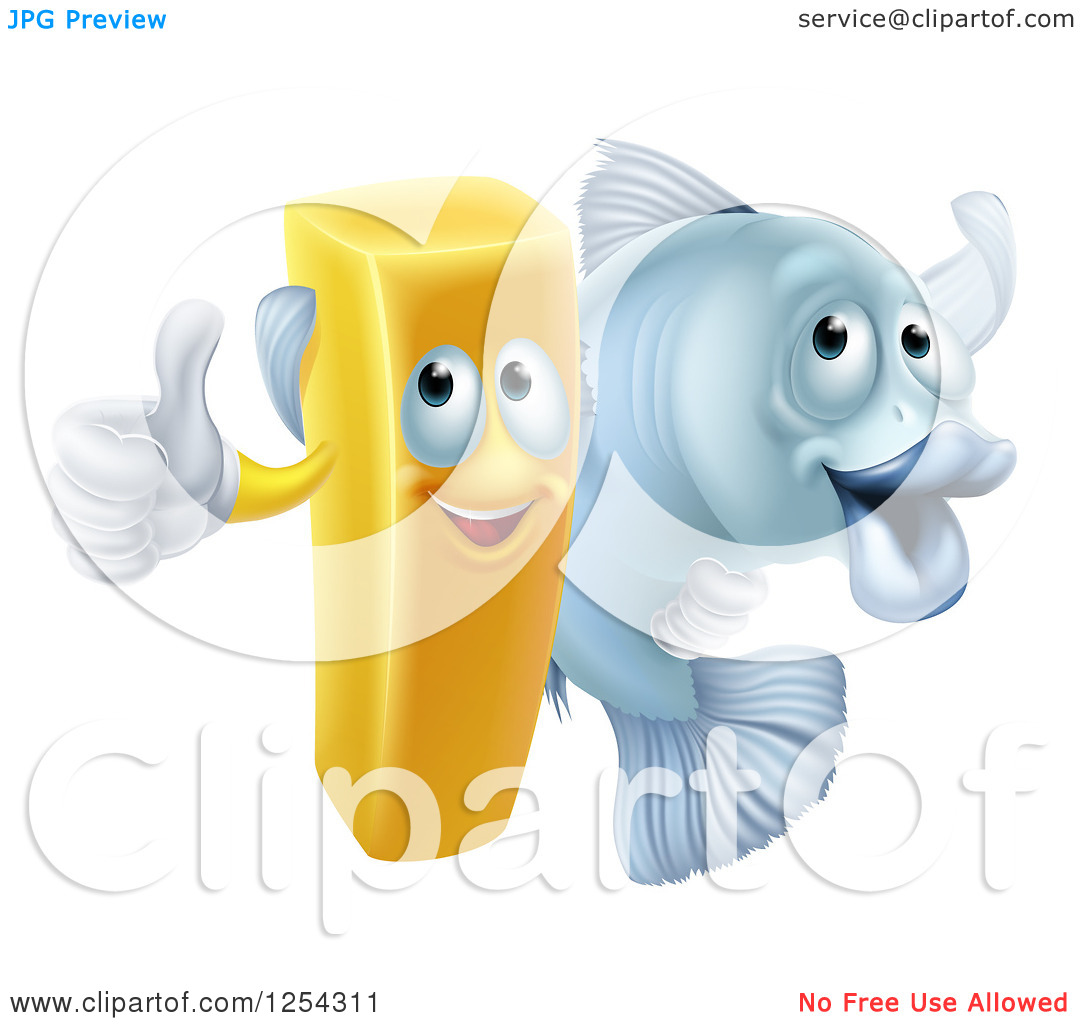 Clipart Of A Happy Fish and Chips French Fry and Cod.