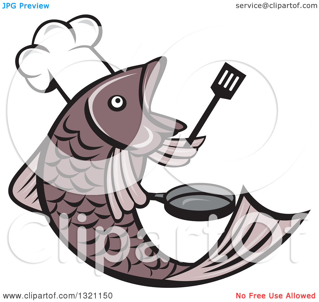 Clipart of a Cartoon Fish Chef Holding a Spatula and Frying Pan.