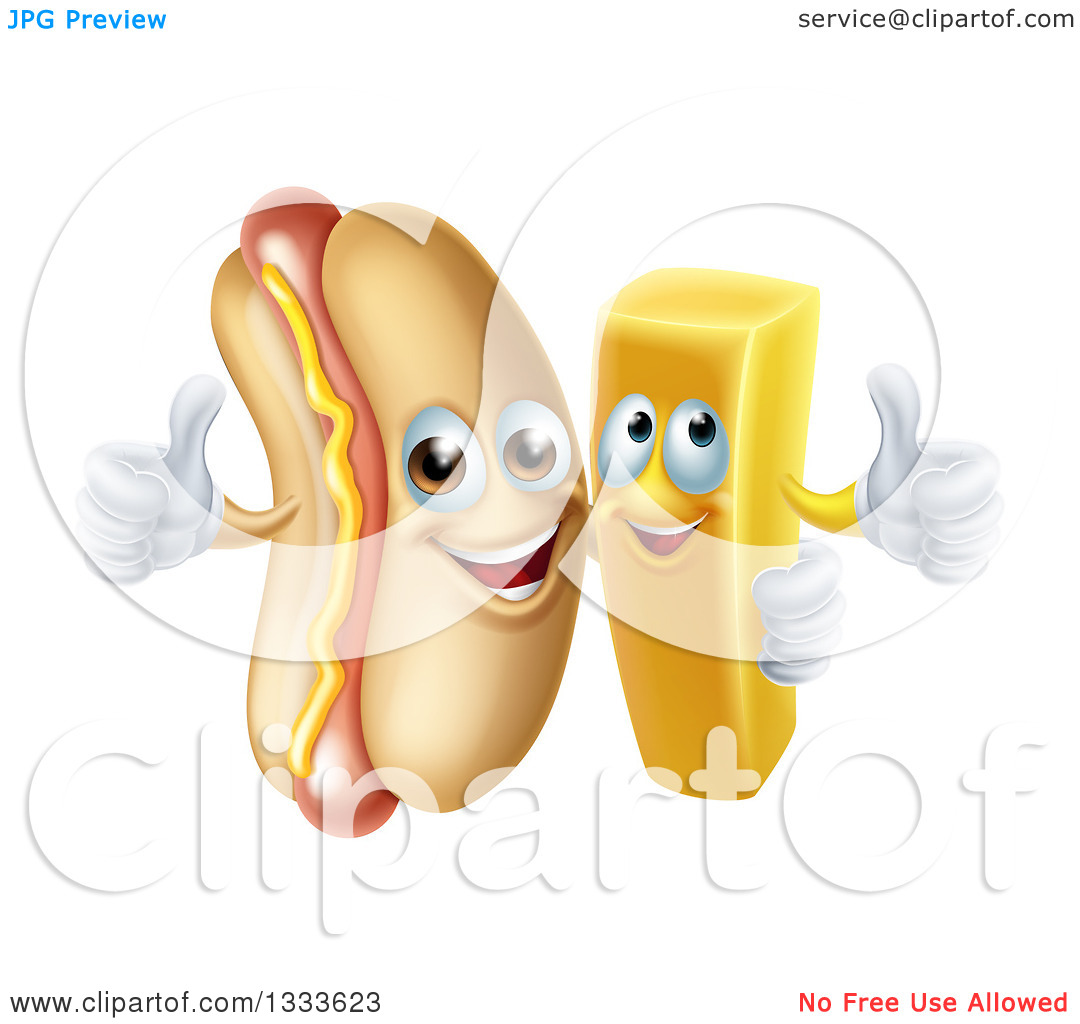 Clipart of a Cartoon Happy Hot Dog Mascot and French Fry Character.