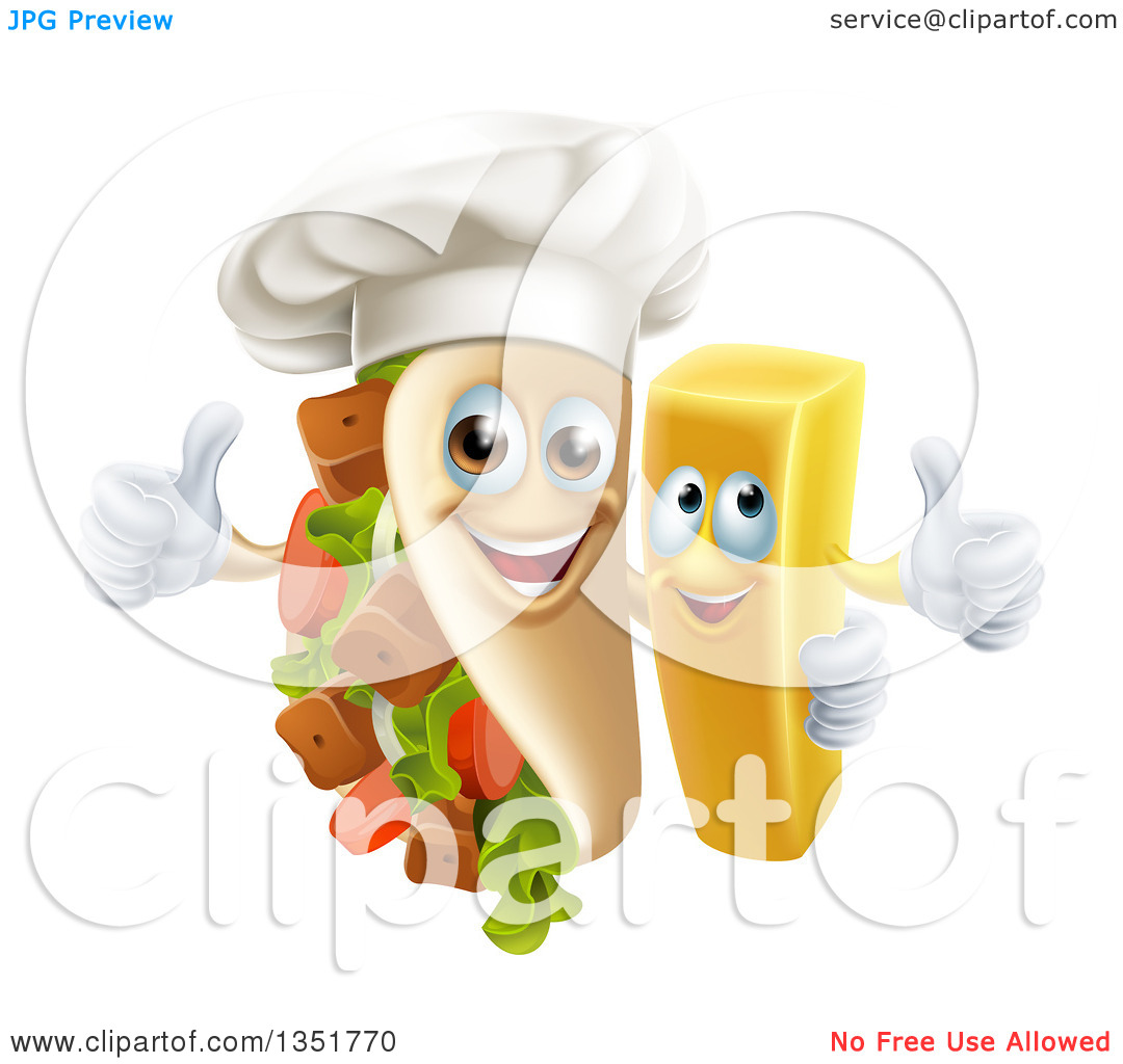 Clipart of a Cartoon Souvlaki Kebab Sandwich Chef Mascot and.