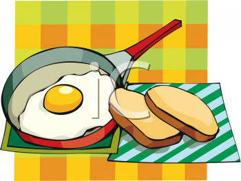 Fried Egg in the Pan with Toast Slices.