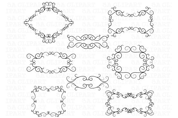 Flourish Swirl Border Frame Clipart ~ Illustrations on Creative Market.