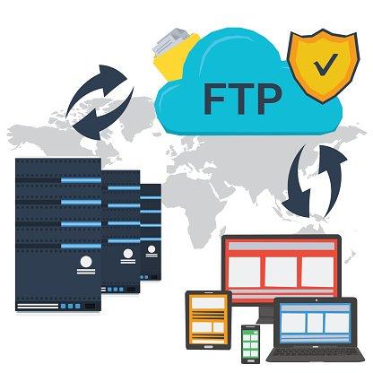 Internet FTP server and online storage Clipart Image.