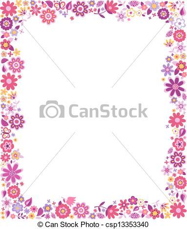 Vettore EPS di rosa, fucsia, fiori, bordo, modello.