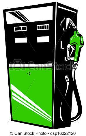 Clip Art of Fuel Pump Station Retro.