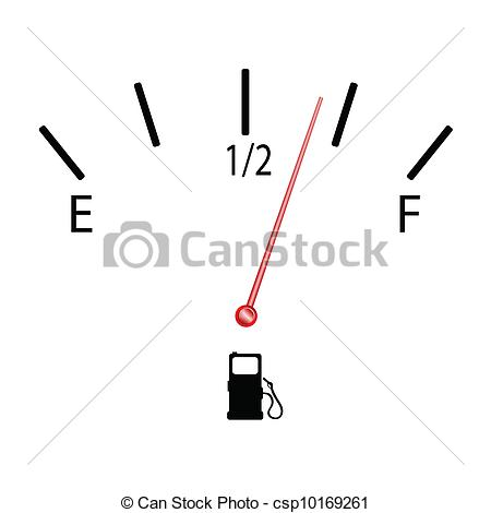Clip Art Vector of fuel gauge with symbol vector illustration on.