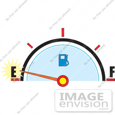 Clip Art Graphic of a Gas Tank Gauge Warning That The Tank Is.