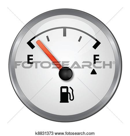 Empty gas gauge clipart.