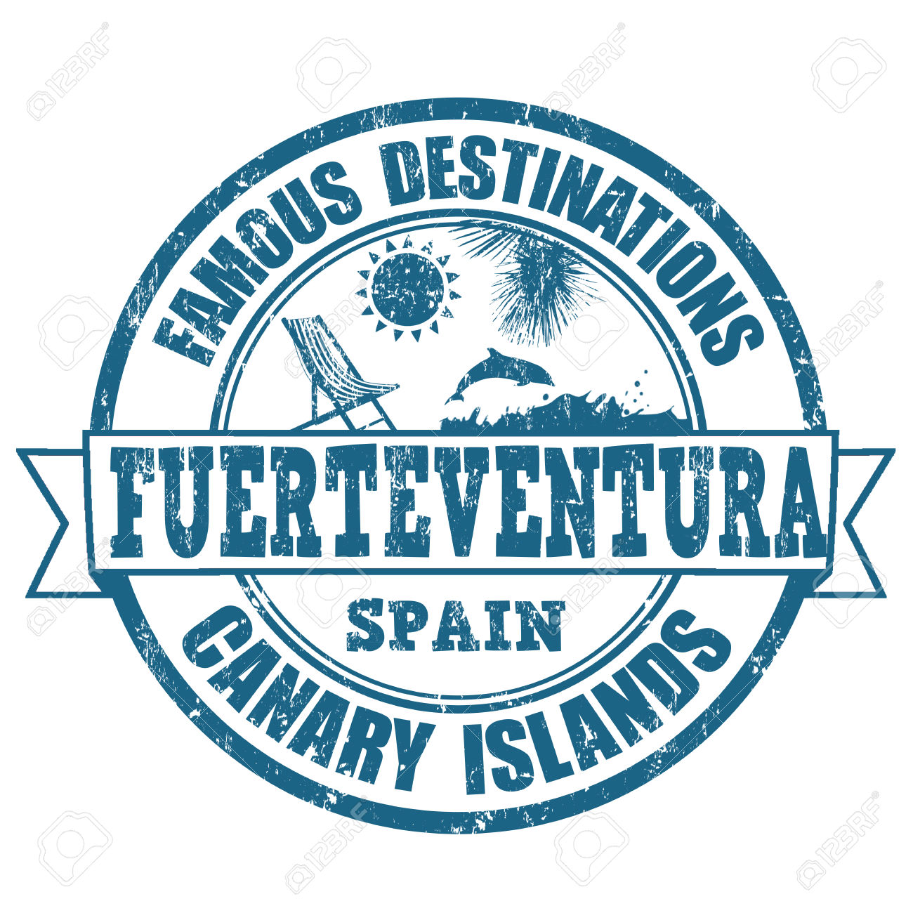 Famous Destinations, Fuerteventura Grunge Rubber Stamp On White.