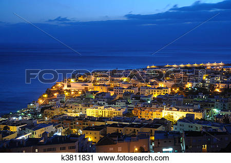 Clipart of Town Morro Jable at night. Canary Island Fuerteventura.