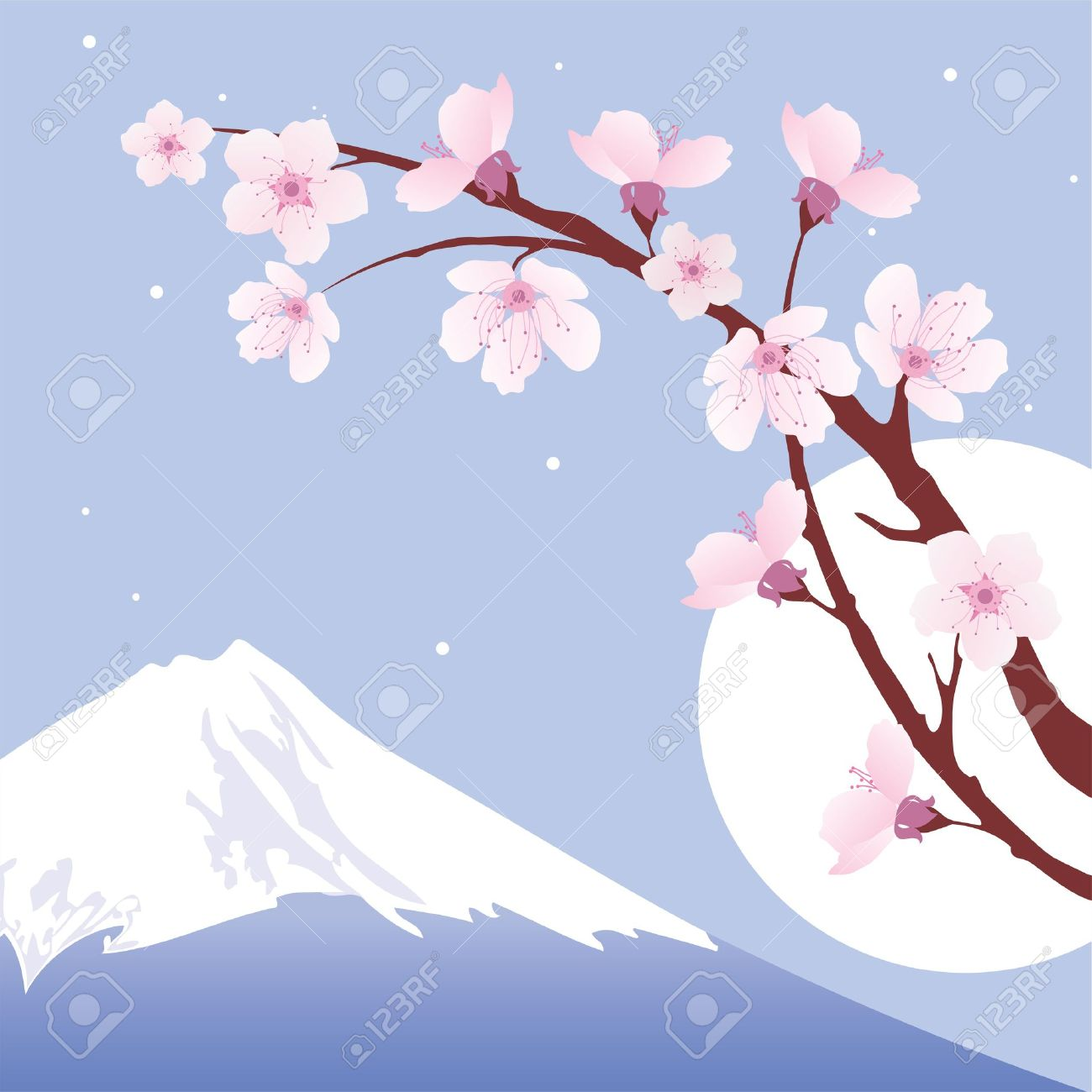 Mount Fuji, Moon And Branches Of Sakura (cherry) Royalty Free.