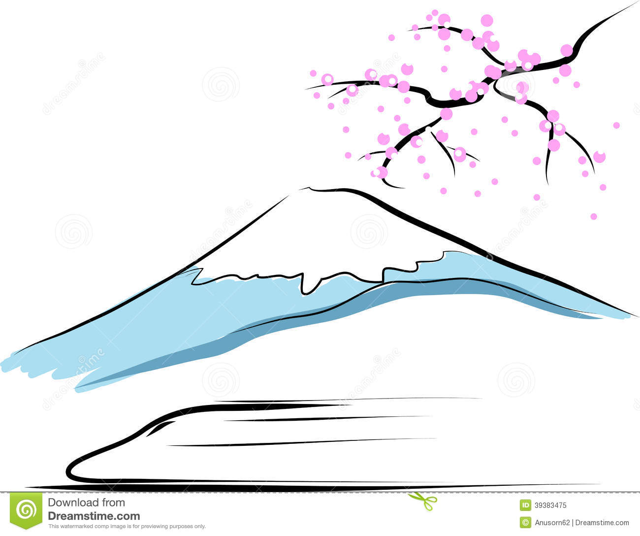 Mount Fuji Stock Vector.