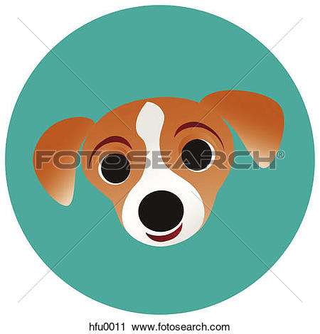 Clipart of A Jack Russell terrier on a teal circular background.
