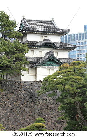 Stock Photograph of Fujimi keep of Edo castle k35591179.