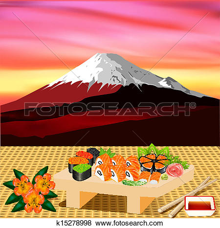 Clip Art of of sushi rolls with greenery on the background of.