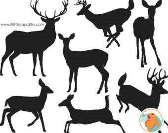 75% SALE Deer Head Silhouette Clip Art + Line Art Outline, Buck.