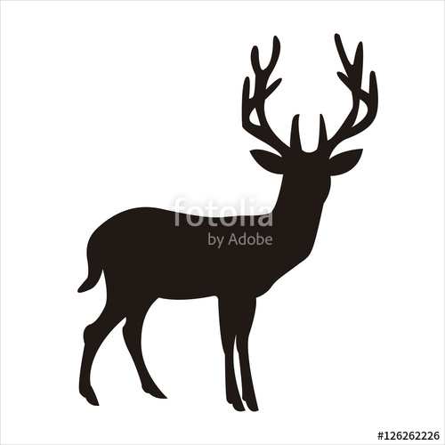 Silhouette of a deer in full body