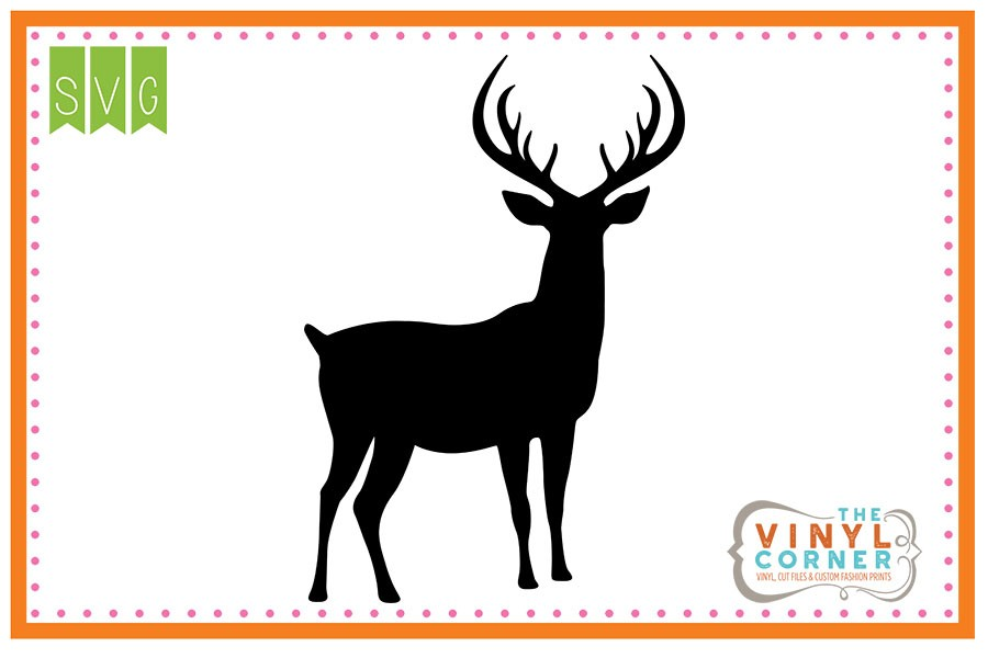 Applique Corner Deer Fully Body Silhouette Cuttable SVG Clipart Design.