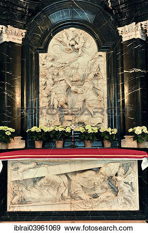 "Stock Photograph of ""Altar on the grave of St. Boniface, relief."