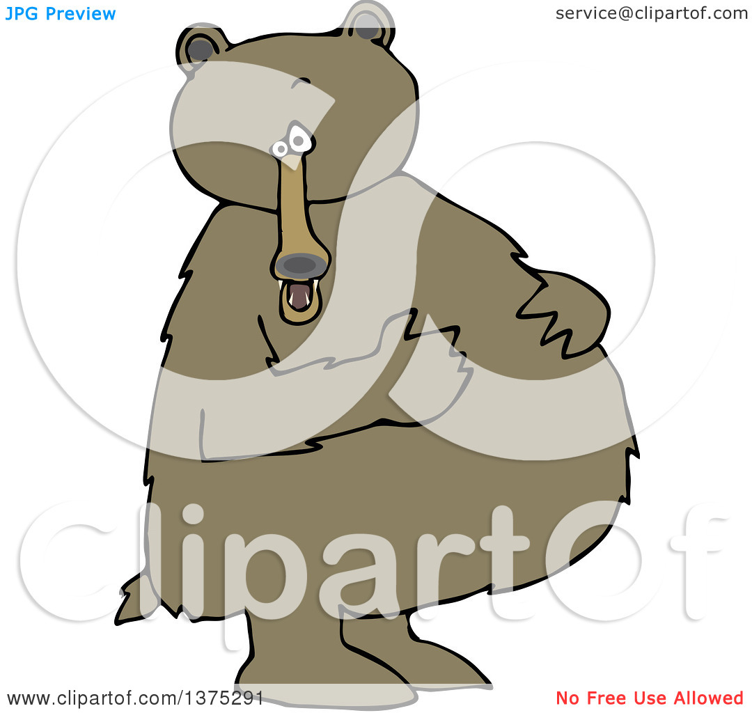 Cartoon Clipart of a Brown Bear Standing Upright and Resting His.