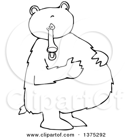 Cartoon Clipart of a Black and White Bear Standing Upright and.