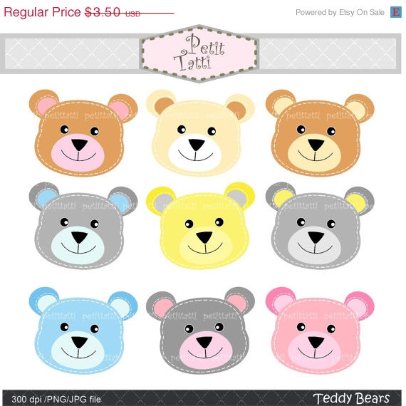 ON SALE Teddy bears head Digital clip art stitch teddy bear.