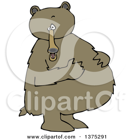 Cartoon Clipart of a Black Bear Standing Upright and Resting His.