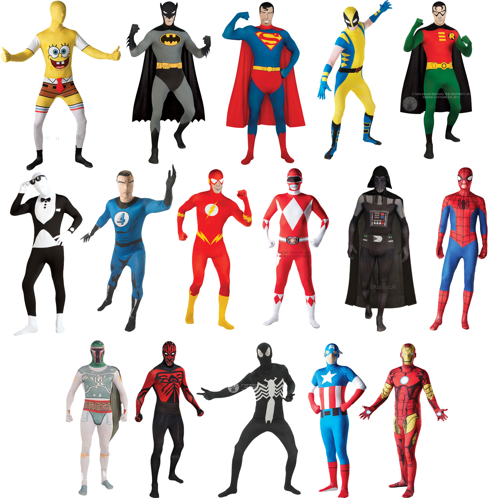 2nd Skin Mens Superhero Licensed Fancy Dress Costume Full Body.