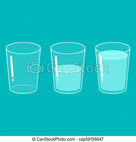 Empty, half and full glass of water.