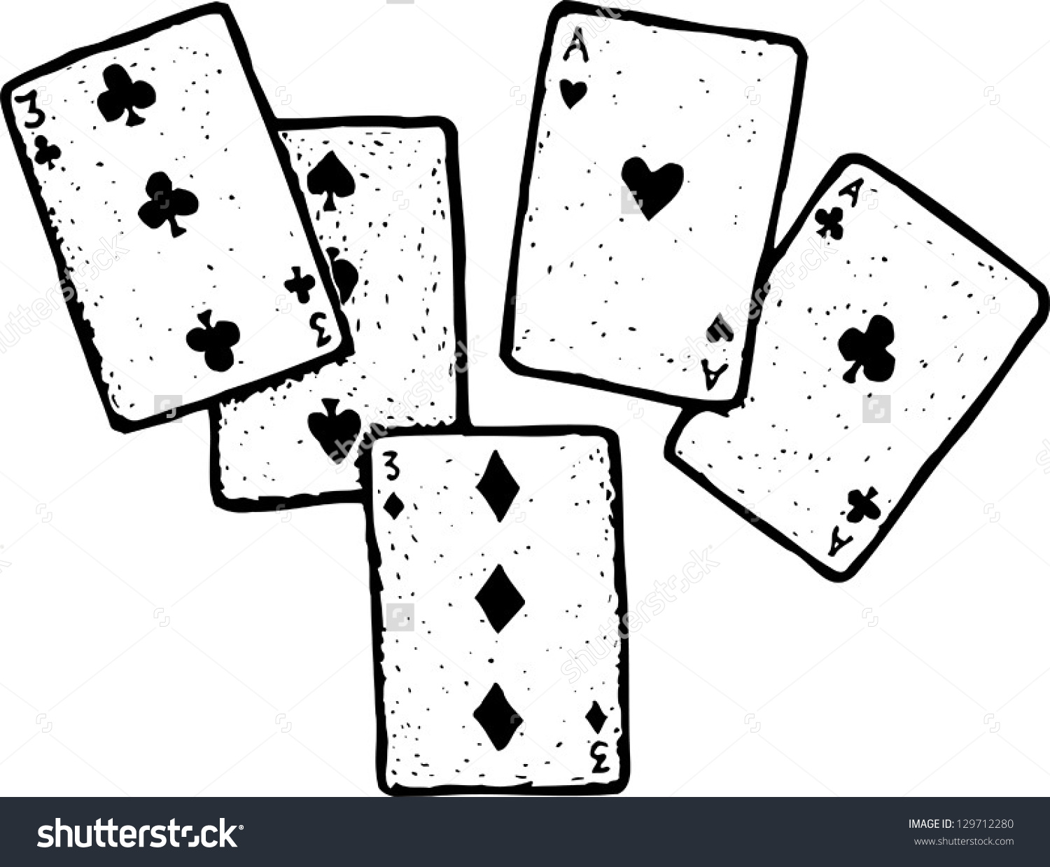 Vector Illustration Full House Poker Hand Stock Vector 129712280.