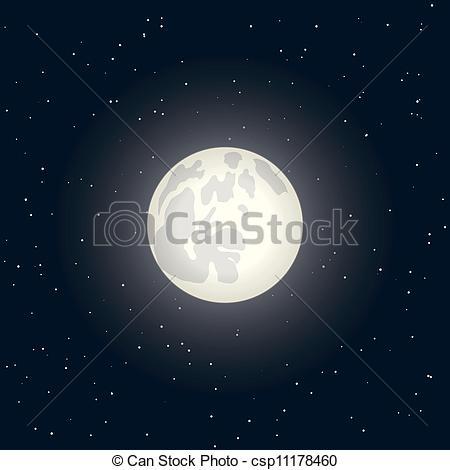 Clip Art Vector of full moon.