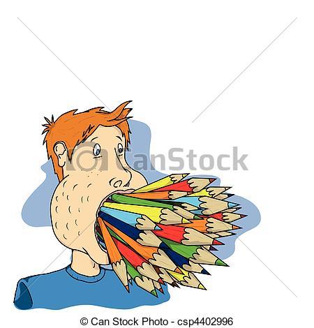 Clip Art Vector of pencil mouth.