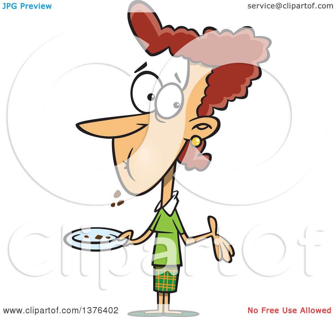 Clipart of a Cartoon Brunette White Woman with a Full Mouth.