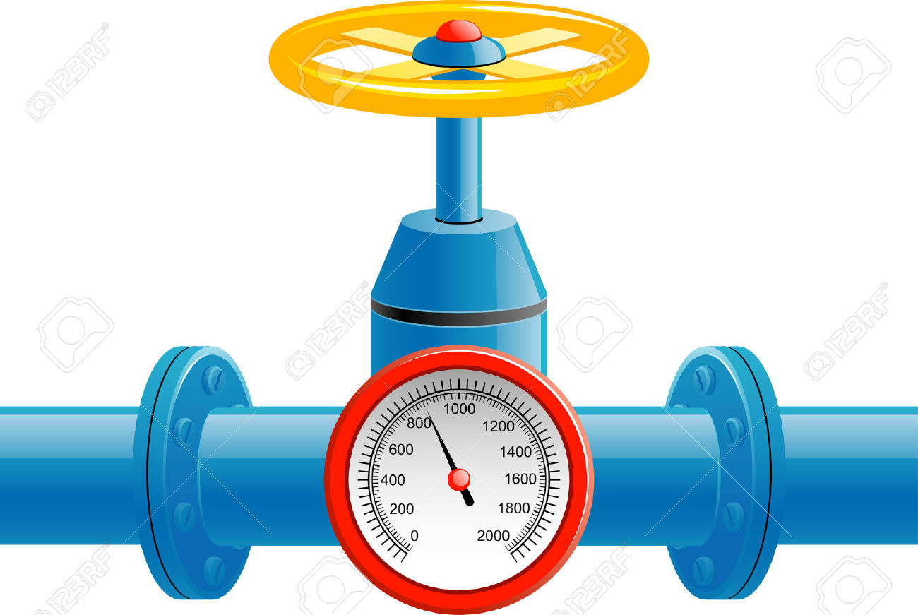 Gas Pipe Valve And Pressure Meter Over White Royalty Free Cliparts.